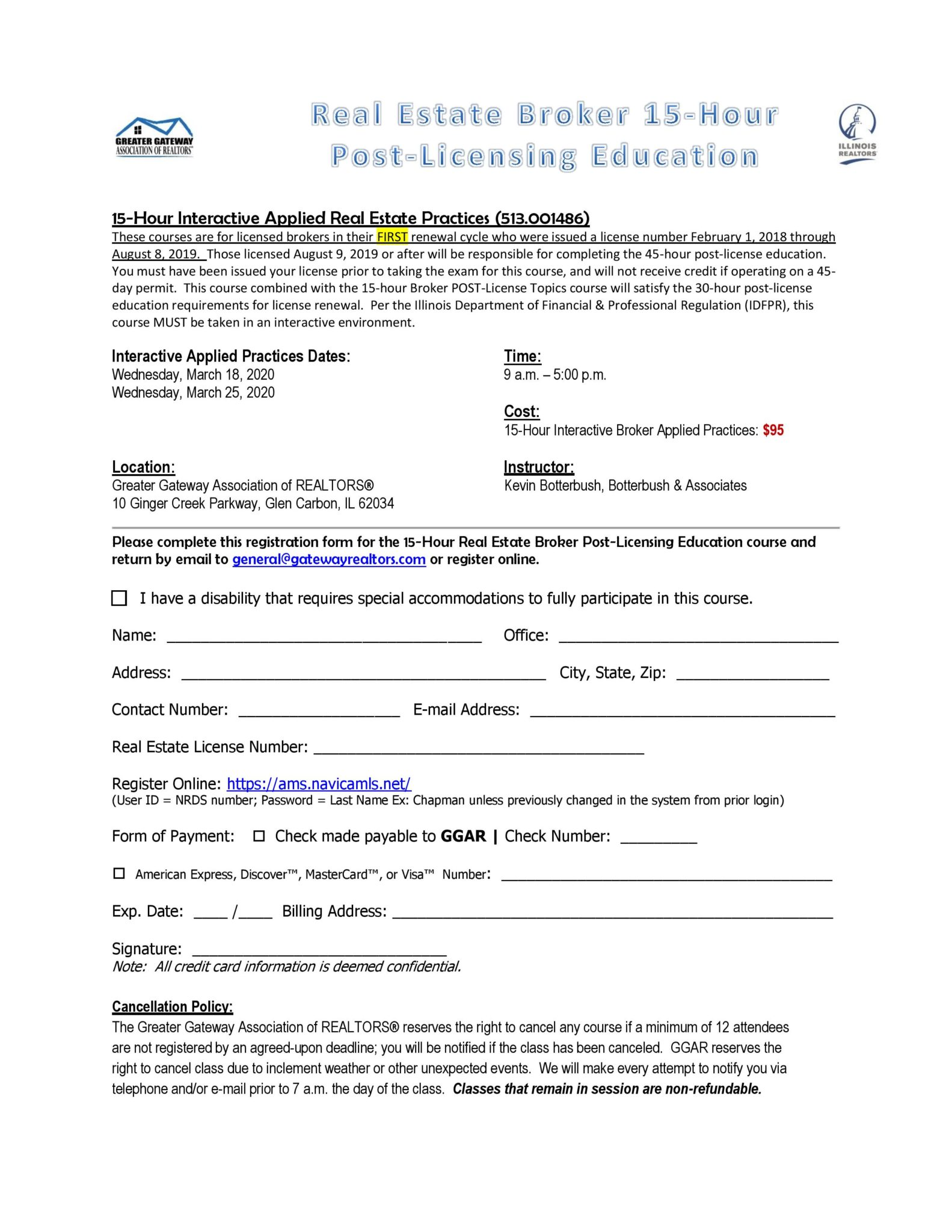 15 Hour Post Licensing Education