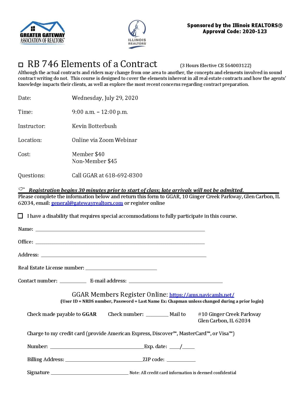 RB 746 Elements of a Contract